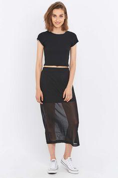 Light Before Dark Mesh Column Midi Skirt