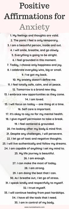 35 Calming Positive Affirmations for Anxiety + Printables! - NunziaDreams