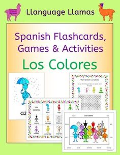 Spanish Colors - Los Colores. This pack contains resources to teach 11 Spanish words for colors, great for teaching elementary students. Our little alien family make learning fun!The Spanish Colors vocabulary set includes: azul, amarillo, rojo, verde, naranja, rosa, violeta, negro, blanco, gris, marrn.The pack comprises:1.