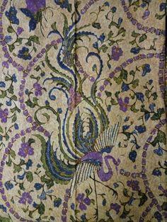 Batik 3 negri galaran tjoa batik with swirl base hand drawing bird edition 1950-1960.