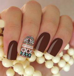 Películas ou Adesivos de Unhas Modelo Étnica Cute Red Nails, Great Nails, Tribal Nails, Striped Nails, Gel Nail Designs, Nail Art Hacks, Nail Arts, Winter Nails, Toe Nails