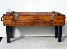 50s AMMUNITION box  bench/table pine upcycle by gillardgurl