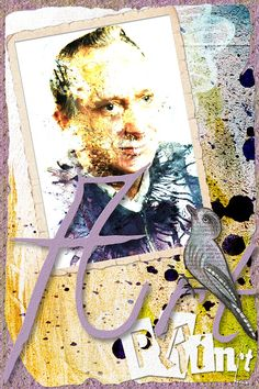 ART PRINT ATC: I created this artsy portrait from a photo of my dad and used it on an ATC. Credits: ATC 2, Pack Oiseaux 1, Essence 1 & Essence 1 Add-on, all by Idees de Christine, available at Pixels and Art Designs
