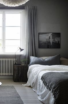 The star of your bedroom may be the bed, but don't count out bold nightstands as an essential part of the room. A bedroom without a bedside table means that things like your clock, smartphone, books and lamps are without a home. Farmhouse Master Bedroom, Gray Bedroom, Home Bedroom, Modern Bedroom, Bedroom Decor, Bedroom Curtains, Bedroom Ideas, Linen Curtains, Bedroom Inspiration Cozy