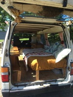 My first van conversion, had the lovely baby for a few years - Nissan Caravan Camper Van, lived in her 5 months at one point :) a real sweet little conversion - all the basics, made out of recyc Nissan Gtr, Nissan Xterra, Nissan Skyline, Small Camper Vans, Small Campers, Nissan Maxima, Nissan Silvia, Van Bed, Minivan Camping