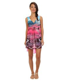 Ted Baker Aerlyn Road To Nowhere Pleat Cover Up Mid Pink - SKU 8356219. Look good in and out of the water in this Ted Baker™ Aerlyn Road To Nowhere cover up! Vivid tie-dye print offers a picturesque appeal to front with solid contrast at back. V-neck or backline. Sleeveless. Inverted pleat at front offers a gentle pleat at front. Pullover design. Trendy high-low hem. 100% polyester.