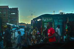 Bus station, downtown Nairobi