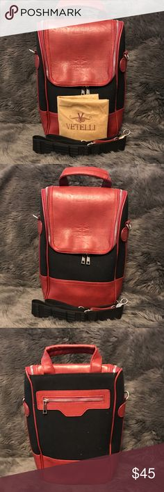 "Vetelli Satchel NWOT Red and Black Vetelli Satchel. Features adjustable Velcro pockets, dust cover and 15"" adjustable shoulder strap.  Approximate size 11.5""L x 4""W x 13.5""H. Vetelli Bags Satchels"