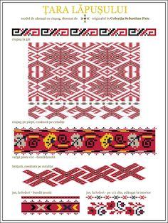 Semne Cusute: ciupag - Tara Lapusului, Transilvania, ROMANIA Folk Embroidery, Learn Embroidery, Floral Embroidery, Cross Stitch Embroidery, Embroidery Patterns, Cross Stitch Patterns, Embroidery Techniques, Beading Patterns, Folk Art
