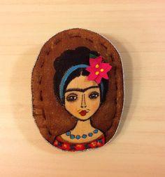 Hand paint brooch wearable art textile brooch by NatashaArtDolls