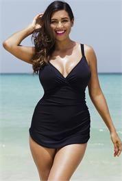 Plus Size Black Plunge Sarong Front Swimsuit