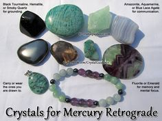 Crystals for Mercury Retrograde — Carry or wear with you the crystals you are most drawn to. I am personally wearing Fluorite, Amazonite, Aquamarine, Hematite, Emerald, and sometimes Smoky Quartz. If you can find it, a great crystal to carry at this time would be Amazonite with Smoky Quartz and/or Black Tourmaline inclusions. It is sometimes called Graphic Amazonite.   CRYSTALS: Amazonite, Aquamarine, Blue Lace Agate, Emerald, Fluorite, Graphic Amazonite, Hematite, Smoky Quartz, Black…