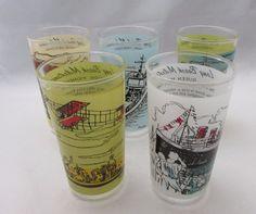 Vintage 1950's Set of 5 Long Beach Milestones Glasses
