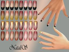 8 warm natural shades of long nails. 4 different designs including solid color and gold design elements. For ages from teen or older. Available in the category RINGS. Found in TSR Category 'Sims 4 Female Rings' Sims 4 Nails, Cc Nails, Sims 4 Cc Skin, Sims Cc, Sims 4 Controls, The Sims 4 Cabelos, Sims 4 Cc Kids Clothing, Gold Nail Designs, Sims 4 Cc Makeup