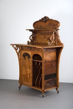 Mahogany Music Cabinet with Fruit Wood Inlays Emile Gallé Nancy, France