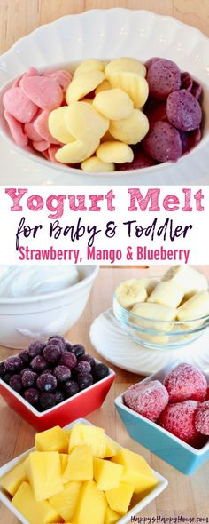 Kids Meals These Yogurt Melts are a healthy and sweet treat for babies and toddlers without added sugar! - These Yogurt Melts are a healthy and sweet treat for babies and toddlers without added sugar! Toddler Meals, Kids Meals, Toddler Food, Toddler Recipes, Toddler Friendly Meals, Baby Food Recipes, Snack Recipes, Detox Recipes, Blueberry Recipes For Baby
