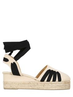 CASTAÑER - 70MM TWO TONE CANVAS WEDGES - LUISAVIAROMA