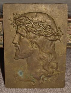 Solid Brass Jesus Plaque Crown of Thrones by AcquiredAntiqueCo on Etsy