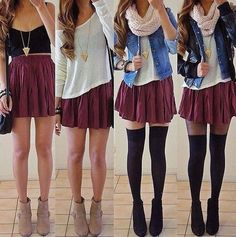 Maroon skirt. From hot to cold