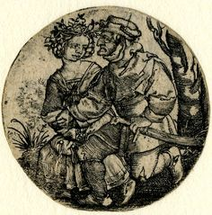 1518 - 30 Sebald Beham -   A couple seated on a grassy bench; roundel with the female figure at left wearing a wreath. Engraving