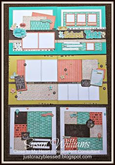 """Just Crazy Blessed : Chalk it up CTMH Close to My Heart 3-Layout (6) 12"""" X 12"""" Pages Workshop Package with e-files & Cutting Guide! Just $25! Consultant option as well! School Year Education Friendship Washi Tape Chipboard Journaling"""