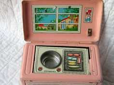 Rare vintage Kitchen Ette tin litho toy kitchen with revolving insert, 1920's, Japan.