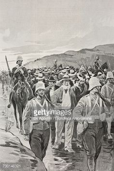 Piet Arnoldus Cronjes Boer column taken prisoner Transvaal South Africa Second Boer War drawing by Adriano Minardi after a photograph by Evelyn Cecil from LIllustrazione Italiana Year XXVII. Vintage Dance, Zulu, African History, South Africa, Prisoner, War, Africa Drawing, Drawings, Photograph