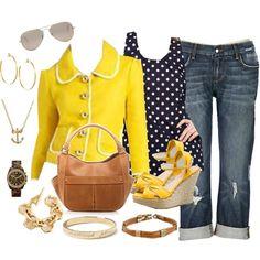 daffodil yellow & polka dots