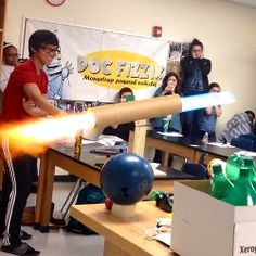 One of Al Balmer's unique demonstrations in his classroom is the scud missile with fireball and all. Balmer uses the missile to help explain Newton's laws...  #PitscoLabs #PitscoScience