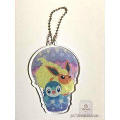 Pokemon Center 2016 Christmas Snow Season Campaign Flareon Piplup Plastic Keychain (Version #2)