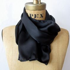 Black Silk Charmeuse Aviator Scarf Long Le Beau Cou by LeBeauCou  $47