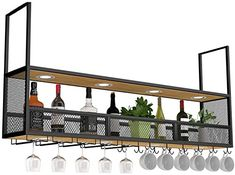 Decor, Home Decor Kitchen, House Design, Hanging Wine Rack, Bar Decor, Kitchen Room Design, Home Bar Decor, Metal Wall Hangings, Wine Rack Bar