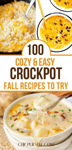 The Best Fall Crockpot Recipes & Comfort Foods to try this season! Are you looking for fall crockpot recipes healthy, fall crockpot recipes dinner easy, fall crockpot dinners healthy or even fall crockpot meals healthy? If so, you'll find these and other fall crockpot soups, fall crockpot desserts, comfort food recipes, fall recipes and fall crockpot recipes easy in this post. #fallcrockpotrecipes #fallcrockpotmeals #crockpotrecipes #fallrecipes #crockpotmeals #crockpotdinners #comfortfood Crockpot Dessert Recipes, Healthy Crockpot Recipes, Healthy Eating Recipes, Kitchen Recipes, Quick Dinner Recipes, Fall Recipes, Slow Cooker Recipes, Crockpot Meals, Delicious Recipes