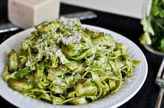 Crispy Shrimp Pasta with Arugula Pesto Cream Sauce