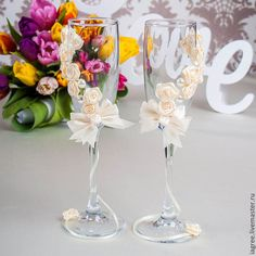 """Купить Свадебные бокалы """"Ваниль"""" - бежевый, Бокалы, бокалы для свадьбы, бокалы для молодоженов, бокалы для шампанского"""