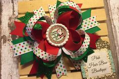 Santa hair bow Christmas hair bow  holiday by PinkHairBowBoutique