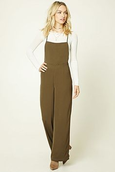 Forever 21 Contemporary - A woven jumpsuit featuring a square neckline, crisscross straps with self-tie closure, concealed side zipper, and a wide-leg.