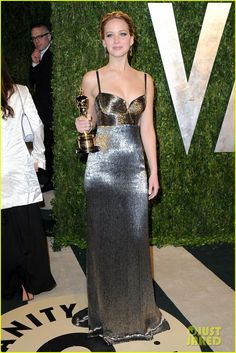 Jennifer Lawrence in Calvin Klein at the  Vanity Fair Oscars Party 2013