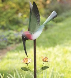 Metal Hummingbird Garden Balancer moves beautifully in the wind.