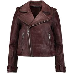 Marc by Marc Jacobs Washed-leather biker jacket (£390) ❤ liked on Polyvore featuring outerwear, jackets, merlot, cropped moto jacket, biker jackets, quilted jacket, quilted moto jacket and leather jackets
