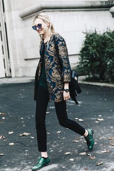 metallic jacquard jacket + green monk strap shoes