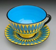 Elisabeth Maurland- love these colors! Stoneware Clay, Ceramic Cups, Tea Cup Saucer, Tea Cups, Yellow Cups, Philadelphia Museum Of Art, Teapots And Cups, Tea Art, American Crafts