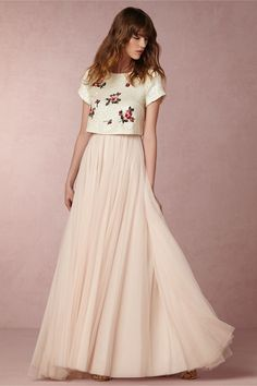Build your own look by mixing & matching wedding dress separates. Shop BHLDN's selection of 2 piece wedding dresses to find the perfect look for your style. Wedding Dress Separates, Bridesmaid Separates, Two Piece Wedding Dress, Bridal Separates, Classic Wedding Dress, Bohemian Wedding Dresses, Colored Wedding Dresses, Bridal Wedding Dresses, Boho Wedding Dress