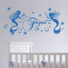Custom Name Mermaid Stars Bubbles Vinyl Sticker Wall Art Decal Nursery