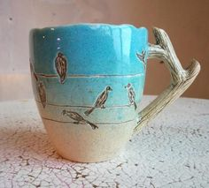 Ceramic jug with a print of herbs.pottery in the interior.Ceramics And Pottery. Slab Pottery, Pottery Mugs, Ceramic Pottery, Pottery Art, Ceramic Tableware, Ceramic Birds, Ceramic Clay, Pottery Techniques, Painting Techniques