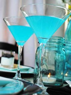 Blue Lemon Martini Recipe  Ingredients  3 ounces Tangueray Gin  1/2 ounce Dry Vermouth  1 teaspoon Blue Curacao  1 teaspoon Fresh Lemon Juice  Directions  Add all the ingredients to shaker which has been half filled with ice. Shake until chilled, strain and pour into martini glasses.