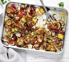 chicken, red pepper & almond tray bake - BBC good food