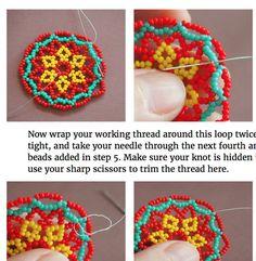 beadweaving tutorial: peyote flower seed bead disc earrings