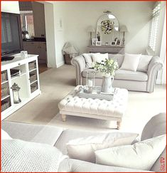 Beautiful grey throw from Dusk and grey wicker basket with cushions. living room layout with tv Coastal Living Rooms, Living Room Grey, Living Room Interior, Home Living Room, Living Room Designs, Living Room Ideas Uk, Living Area, Lounge Decor, Sitting Room Decor