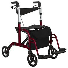 huge discount 324e1 e69fc Vive Rollator Walker with Seat Wheelchair Transport Chair 8 Inch Wheels  Foldable Lightweight Elderly Adult Bariatric Mobility Aid Medical Handicap  ...